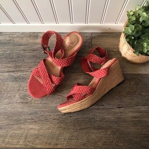 Me Too   Coral Suede Ankle Wrap Espadrille Wedges